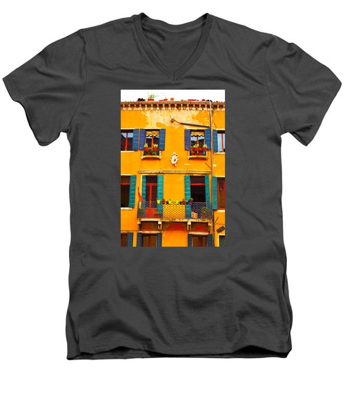 Men's V-Neck T-Shirt featuring the photograph Venice Street Scene 1 by Richard Ortolano