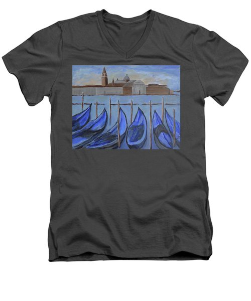 Men's V-Neck T-Shirt featuring the painting Venice by Victoria Lakes