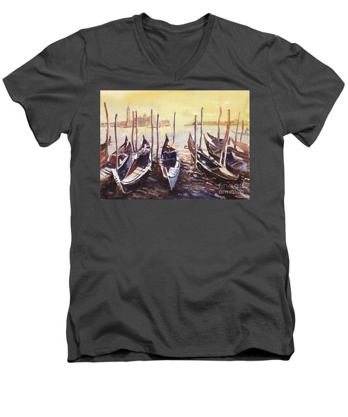 Men's V-Neck T-Shirt featuring the painting Venice Watercolor- Italy by Ryan Fox