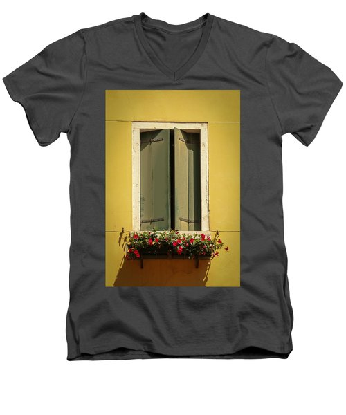 Men's V-Neck T-Shirt featuring the photograph Venice Window In Green by Kathleen Scanlan