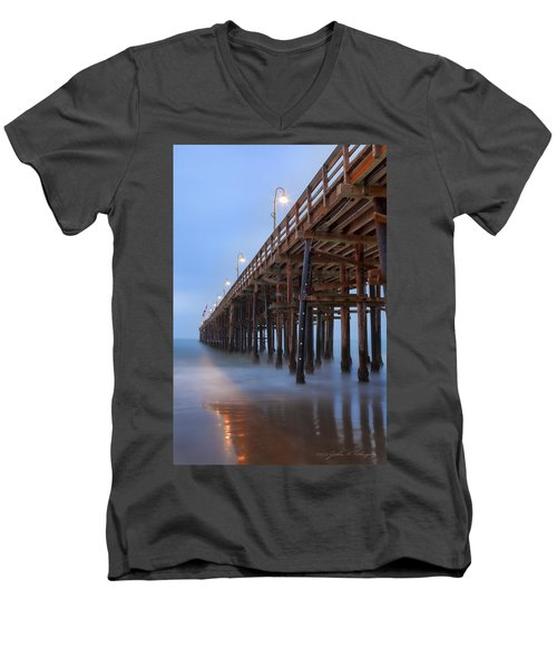 Men's V-Neck T-Shirt featuring the photograph Ventura Ca Pier At Dawn by John A Rodriguez