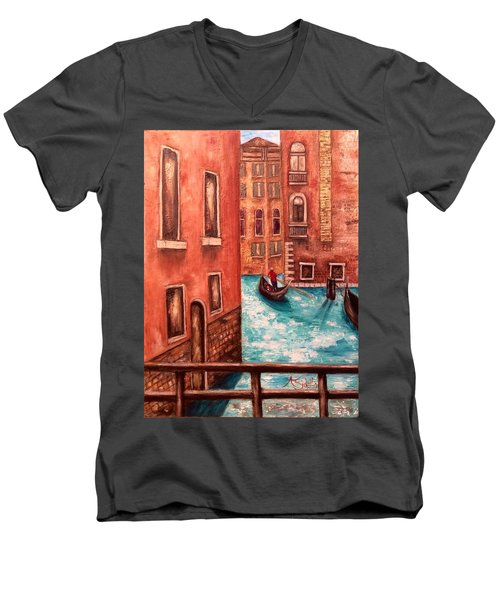 Men's V-Neck T-Shirt featuring the painting Venice by Annamarie Sidella-Felts