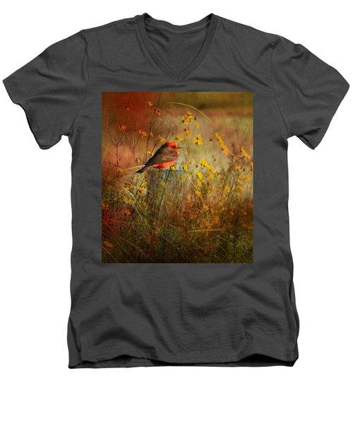 Vermilion Flycatcher At St. Marks Men's V-Neck T-Shirt