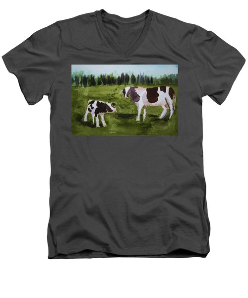 Men's V-Neck T-Shirt featuring the painting Vermont Cow And Calf by Donna Walsh