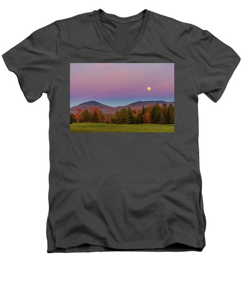 Vermont Fall, Full Moon And Belt Of Venus Men's V-Neck T-Shirt by Tim Kirchoff