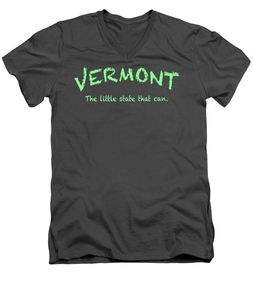 Vermont Little State Men's V-Neck T-Shirt by George Robinson