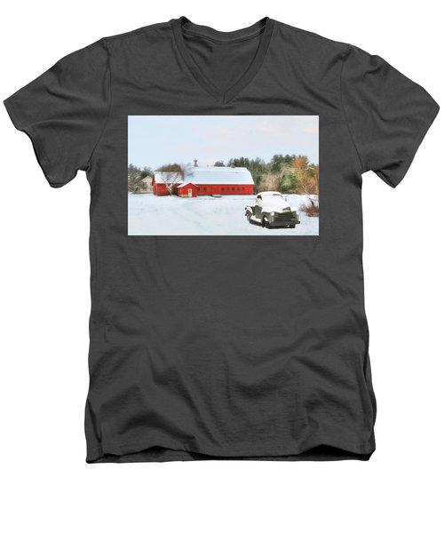Vermont Memories Men's V-Neck T-Shirt by Sharon Batdorf