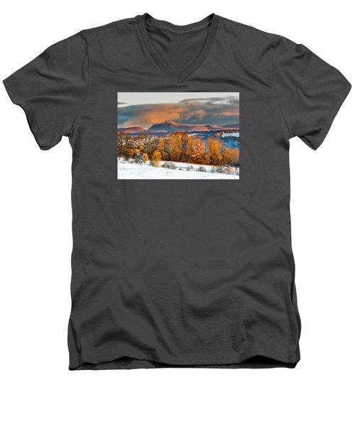 Vermont Snowliage Scene Men's V-Neck T-Shirt by Tim Kirchoff