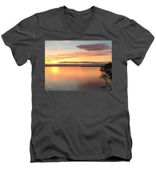 Vermont Sunset, Lake Champlain Men's V-Neck T-Shirt by Felipe Adan Lerma