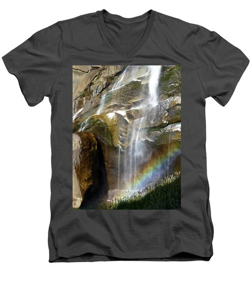 Vernal Falls Rainbow And Plants Men's V-Neck T-Shirt by Amelia Racca