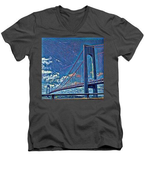 Verrazano Bridge Men's V-Neck T-Shirt by Rita Tortorelli