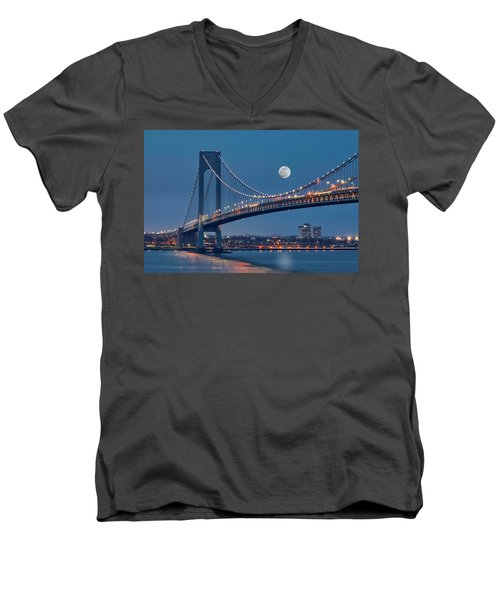 Men's V-Neck T-Shirt featuring the photograph Verrazano Narrows Bridge Moon by Susan Candelario