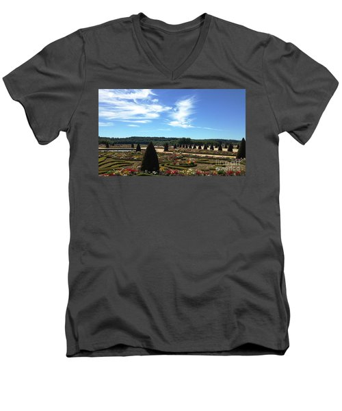 Men's V-Neck T-Shirt featuring the photograph Versailles Palace Gardens by Therese Alcorn