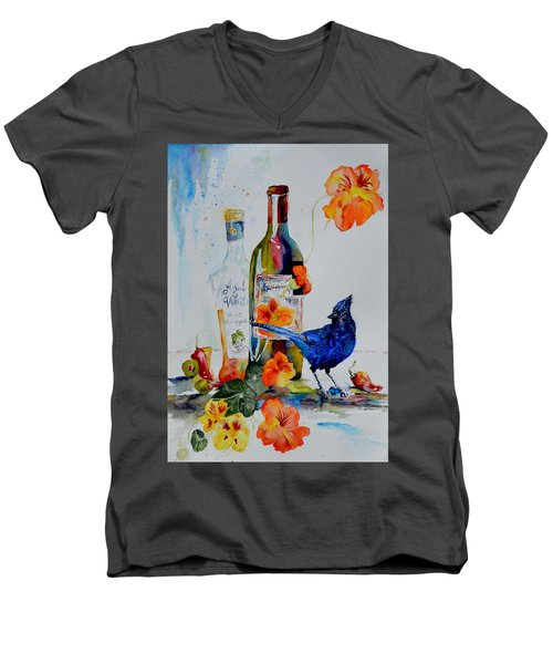 Still Life With Steller's Jay Men's V-Neck T-Shirt by Beverley Harper Tinsley