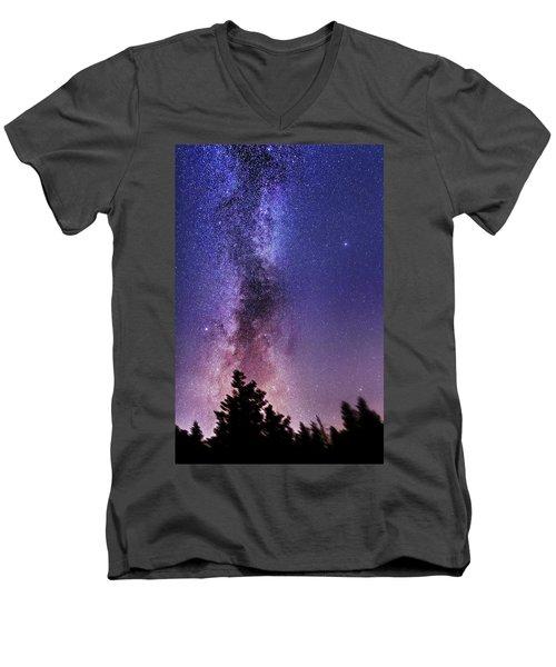 Vertical Milky Way Men's V-Neck T-Shirt