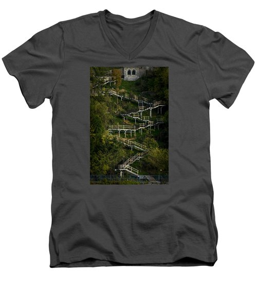 Vertical Stairs Men's V-Neck T-Shirt by Celso Bressan