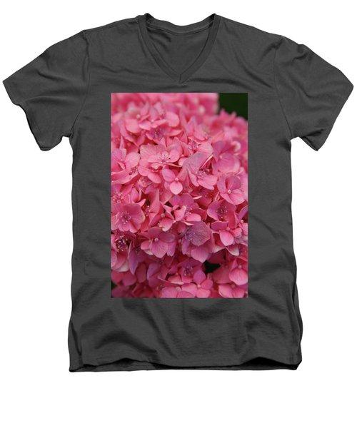 Very Pink Hydrangea Blossoms 2578 H_2 Men's V-Neck T-Shirt
