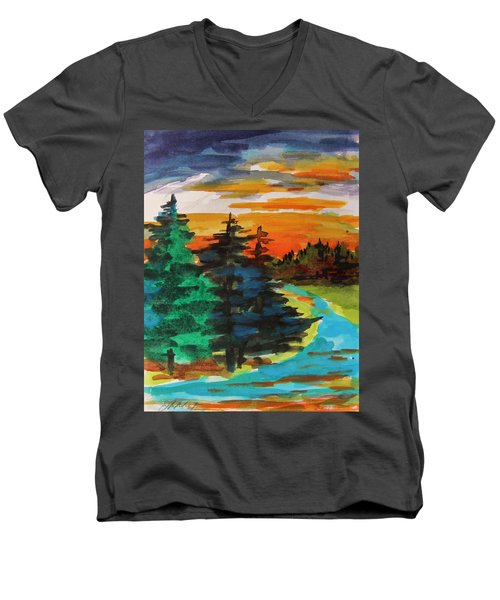 Men's V-Neck T-Shirt featuring the painting Very Quiet by John Williams