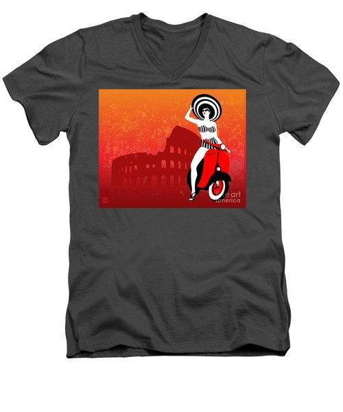 Vespa Girl Men's V-Neck T-Shirt