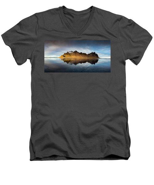 Men's V-Neck T-Shirt featuring the photograph Vestrahorn Panao by Allen Biedrzycki