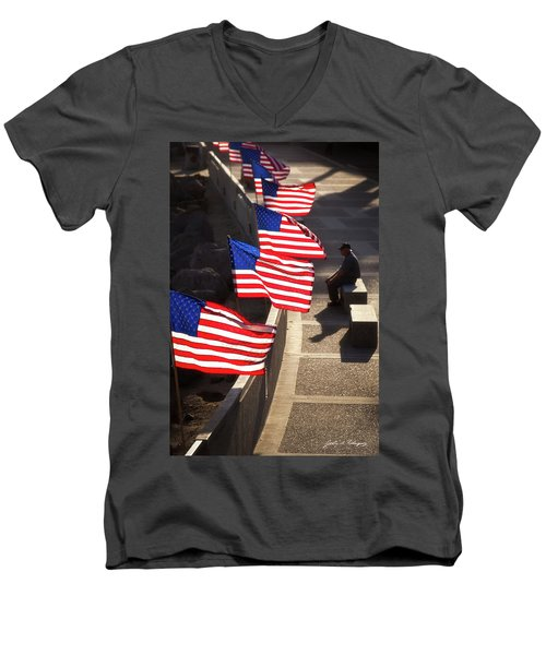 Veteran With Our Nations Flags Men's V-Neck T-Shirt