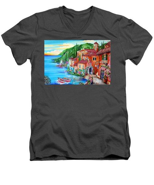 Via Positano By The Lake Men's V-Neck T-Shirt by Roberto Gagliardi