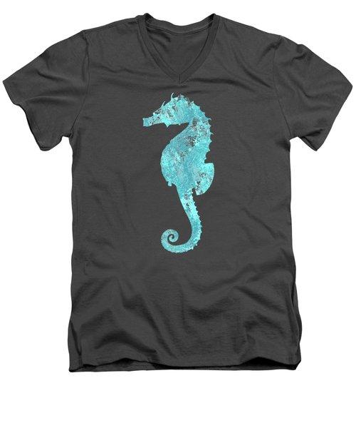 Vibrant Blue Seahorse Beach House Coastal Art Men's V-Neck T-Shirt