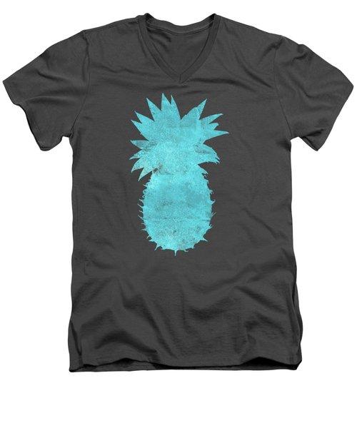 Vibrant Blue Tropical Pineapple Beach House Coastal Art Men's V-Neck T-Shirt