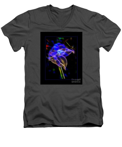 Vibrant Orchid Men's V-Neck T-Shirt by Darleen Stry