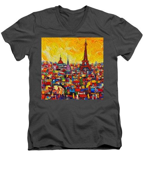 Vibrant Paris Abstract Cityscape Impasto Modern Impressionist Palette Knife Oil Ana Maria Edulescu Men's V-Neck T-Shirt