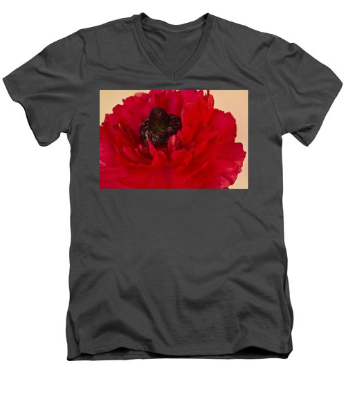 Vibrant Petals Men's V-Neck T-Shirt by Sandra Foster
