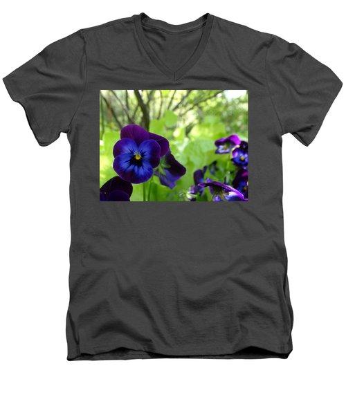 Vibrant Violets In Purple Men's V-Neck T-Shirt by Rebecca Overton