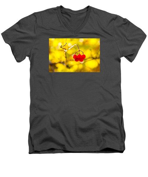 Men's V-Neck T-Shirt featuring the photograph Viburnum Berries - Natural Olympic Emblem by Alexander Senin