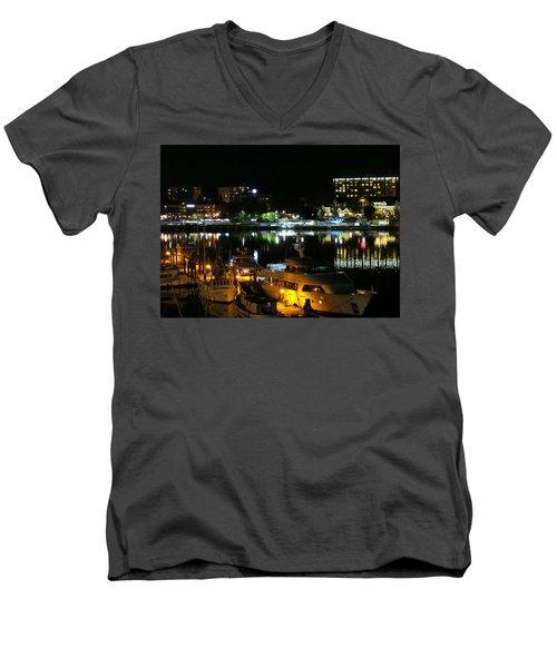 Victoria Inner Harbor At Night Men's V-Neck T-Shirt by Betty Buller Whitehead