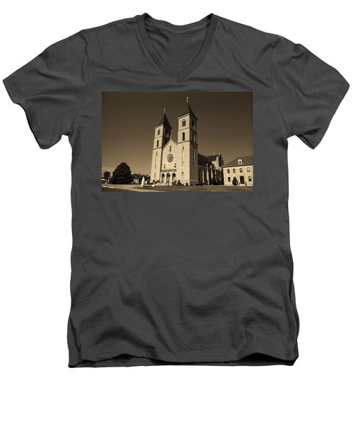 Men's V-Neck T-Shirt featuring the photograph Victoria, Kansas - Cathedral Of The Plains Sepia 6 by Frank Romeo