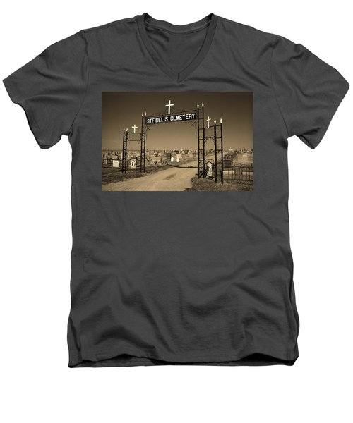 Men's V-Neck T-Shirt featuring the photograph Victoria, Kansas - St. Fidelis Cemetery Sepia by Frank Romeo
