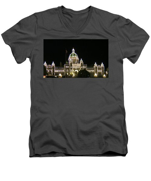 Victoria Legislative Buildings Men's V-Neck T-Shirt by Betty Buller Whitehead