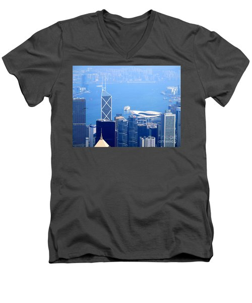 Men's V-Neck T-Shirt featuring the photograph Victoria Peak 2 by Randall Weidner