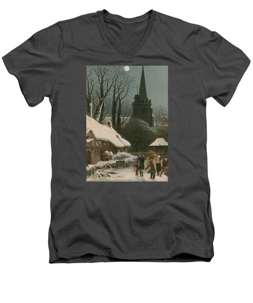 Victorian Christmas Scene With Band Playing In The Snow Men's V-Neck T-Shirt