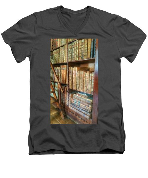 Victorian Library Men's V-Neck T-Shirt by Isabella F Abbie Shores FRSA