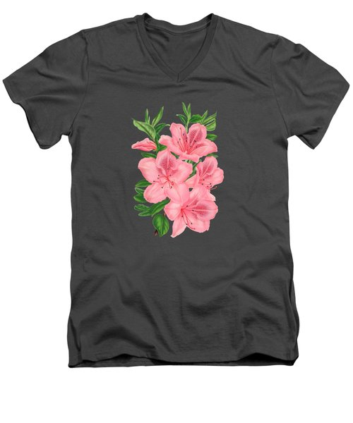 Victorian Pink Flowers On Navy Men's V-Neck T-Shirt