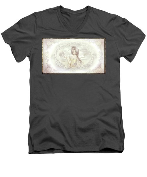 Men's V-Neck T-Shirt featuring the mixed media Victorian Princess Altiana by Shawn Dall