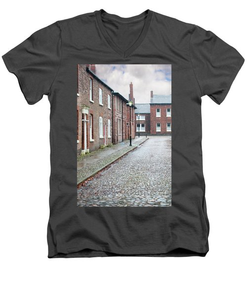 Victorian Terraced Street Of Working Class Red Brick Houses Men's V-Neck T-Shirt by Lee Avison