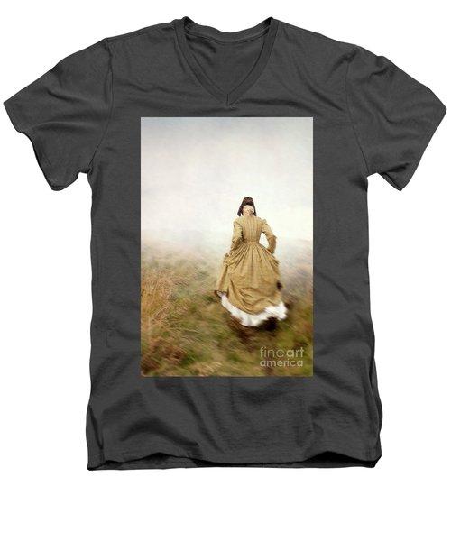 Victorian Woman Running On The Misty Moors Men's V-Neck T-Shirt