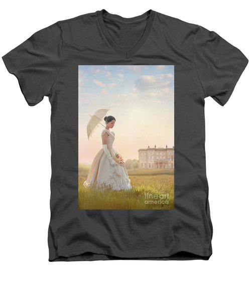 Victorian Woman With Parasol And Fan Men's V-Neck T-Shirt by Lee Avison