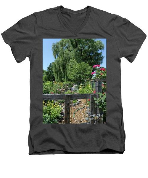 Victory Garden Lot And Willow Tree, Boston, Massachusetts  -30958 Men's V-Neck T-Shirt