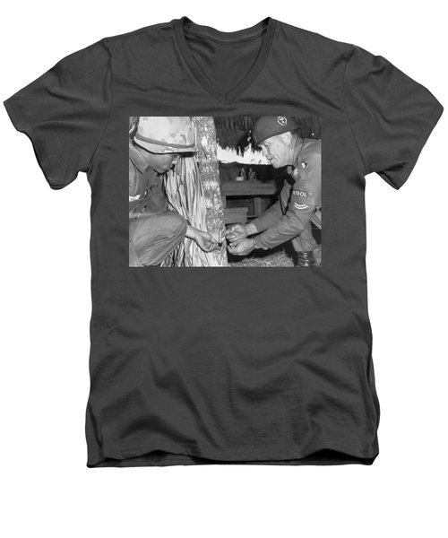 Viet Cong Booby Trap Men's V-Neck T-Shirt by Underwood Archives