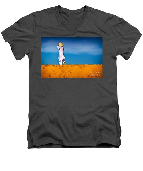 Vietnamese Woman In The Red Sand Dunes Mui Ne Vietnam Men's V-Neck T-Shirt