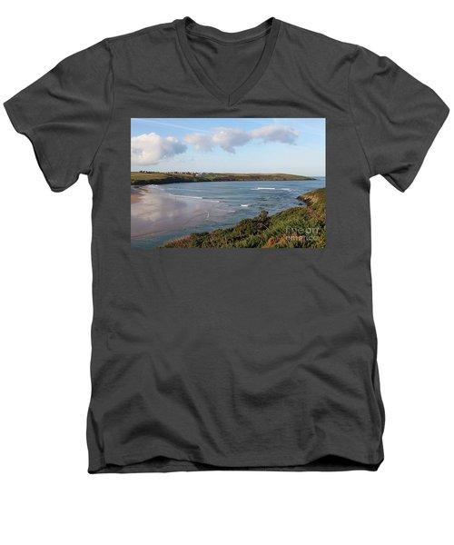 Men's V-Neck T-Shirt featuring the photograph View Across The Gannel Estuary by Nicholas Burningham