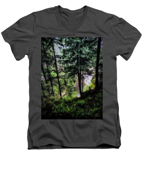 Men's V-Neck T-Shirt featuring the photograph View Downhill by Joseph Hollingsworth